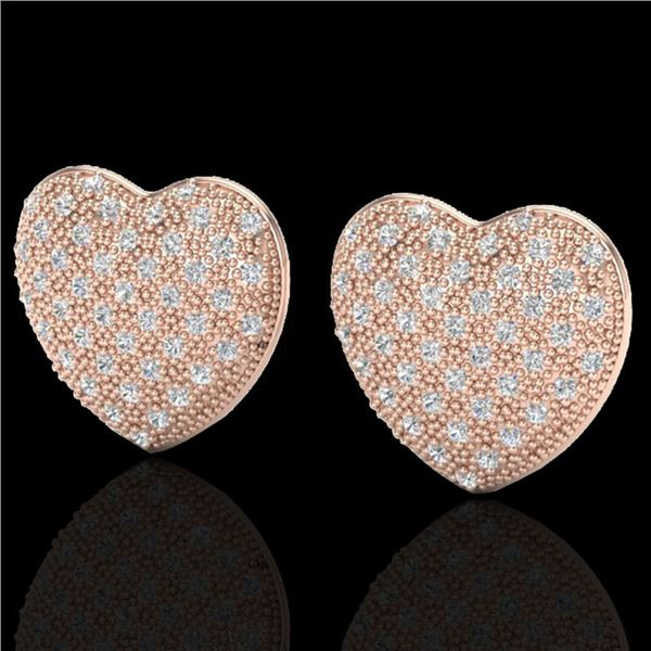 1.50 ctw Micro Pave VS/SI Diamond Heart Earrings 14k Rose Gold - REF-110M4G
