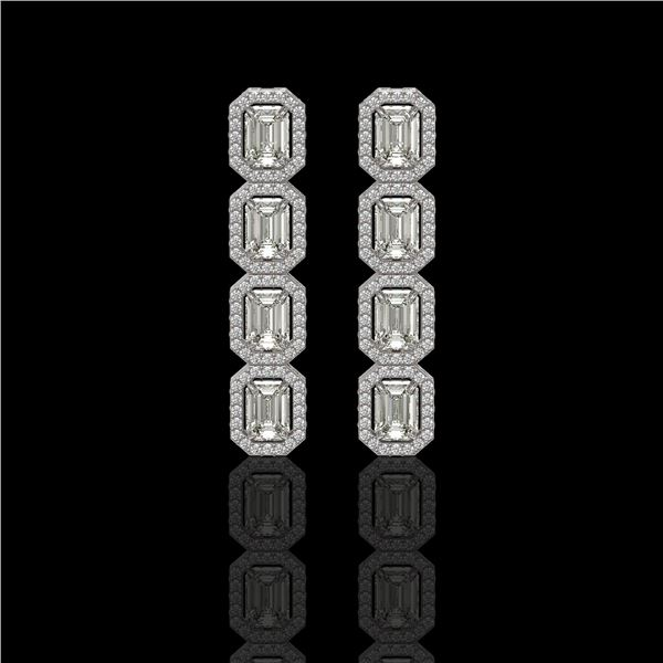 5.33 ctw Emerald Cut Diamond Micro Pave Earrings 18K White Gold - REF-804K5Y