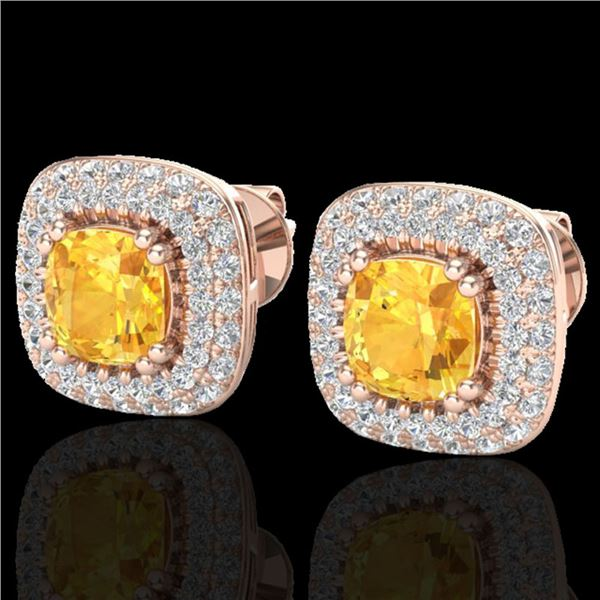 2.16 ctw Citrine & Micro VS/SI Diamond Earrings Halo 14k Rose Gold - REF-87X6A