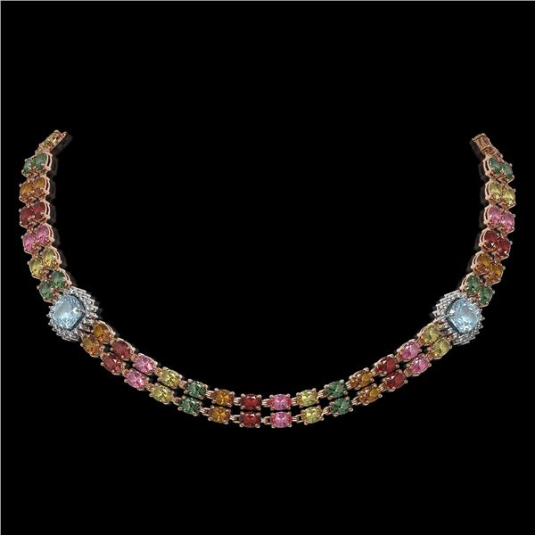 43.35 ctw Sapphire & Diamond Necklace 14K Rose Gold - REF-527X3A