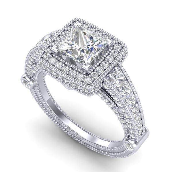 2.53 ctw Princess VS/SI Diamond Solitaire Art Deco Ring 18k White Gold - REF-509W3H