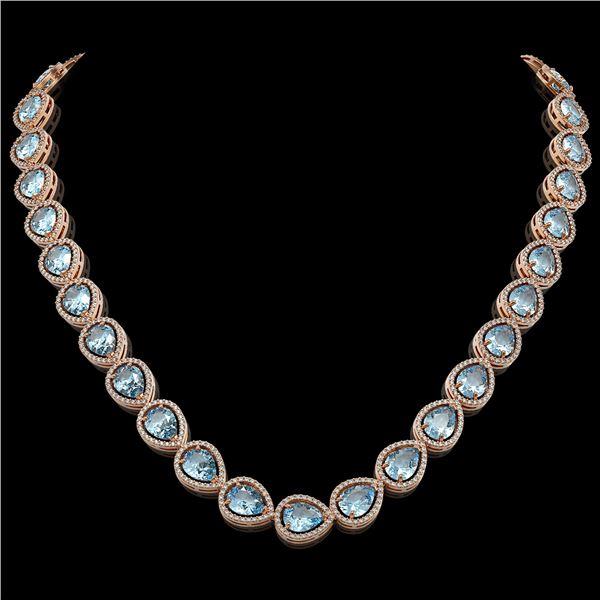 41.6 ctw Sky Topaz & Diamond Micro Pave Halo Necklace 10k Rose Gold - REF-672H8R