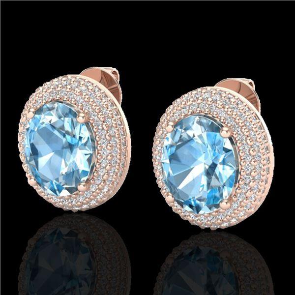 10 ctw Sky Blue Topaz & Micro Pave Diamond Earrings 14k Rose Gold - REF-143A6N