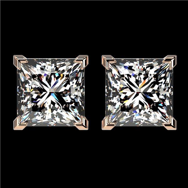 2.50 ctw VS/SI Quality Princess Diamond Stud Earrings 10k Rose Gold - REF-601W4H