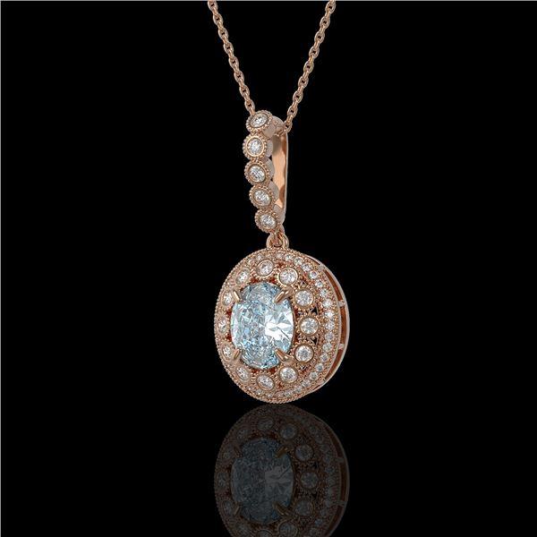3.82 ctw Aquamarine & Diamond Victorian Necklace 14K Rose Gold - REF-136K8Y