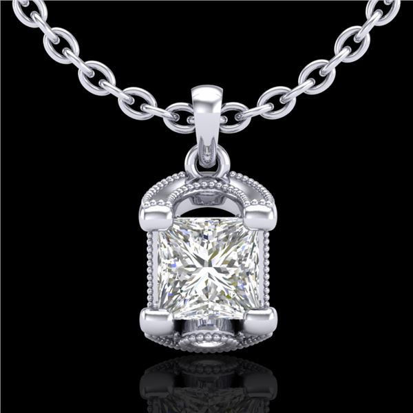 1.25 ctw Princess VS/SI Diamond Art Deco Necklace 18k White Gold - REF-330N2F