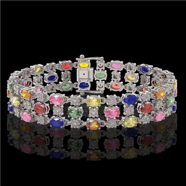 25.07 ctw Multi Color Sapphire & Diamond Bracelet 10K White Gold - REF-340N2F