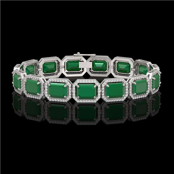 38.61 ctw Emerald & Diamond Micro Pave Halo Bracelet 10k White Gold - REF-456F5M