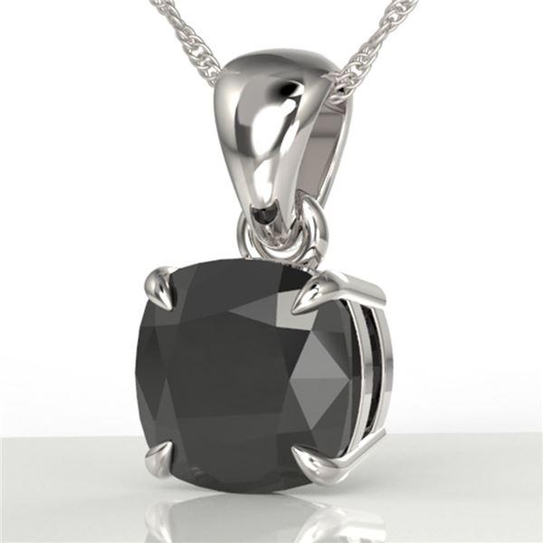 3 ctw Cushion Cut Black Diamond Designer Necklace 18k White Gold - REF-105W5H