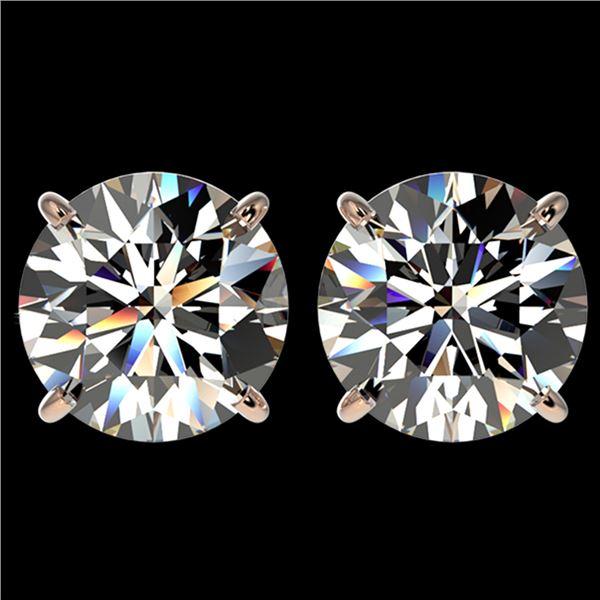 4 ctw Certified Diamond Solitaire Stud Earrings 10k Rose Gold - REF-862N5F