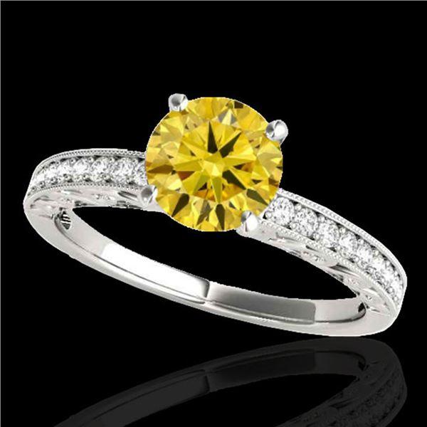 1.43 ctw Certified SI Intense Yellow Diamond Antique Ring 10k White Gold - REF-259M3G