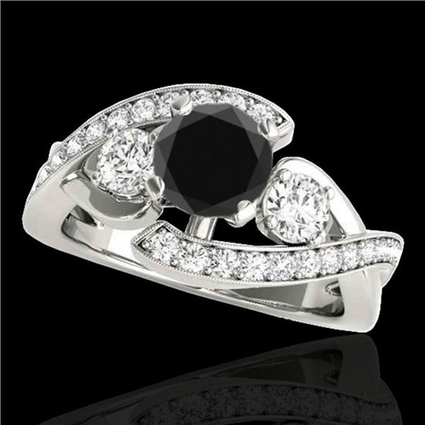 1.76 ctw Certified VS Black Diamond Bypass Solitaire Ring 10k White Gold - REF-81K5Y