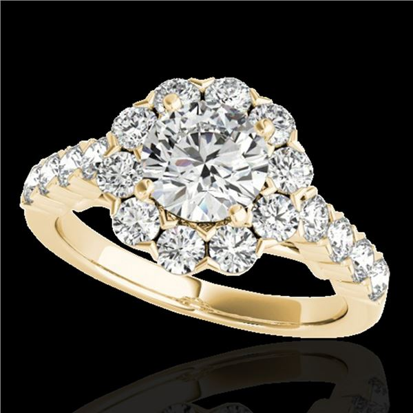 2.35 ctw Certified Diamond Solitaire Halo Ring 10k Yellow Gold - REF-252N3F