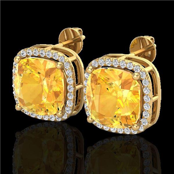 12 ctw Citrine & Micro Pave Halo VS/SI Diamond Earrings 18k Yellow Gold - REF-83K8Y
