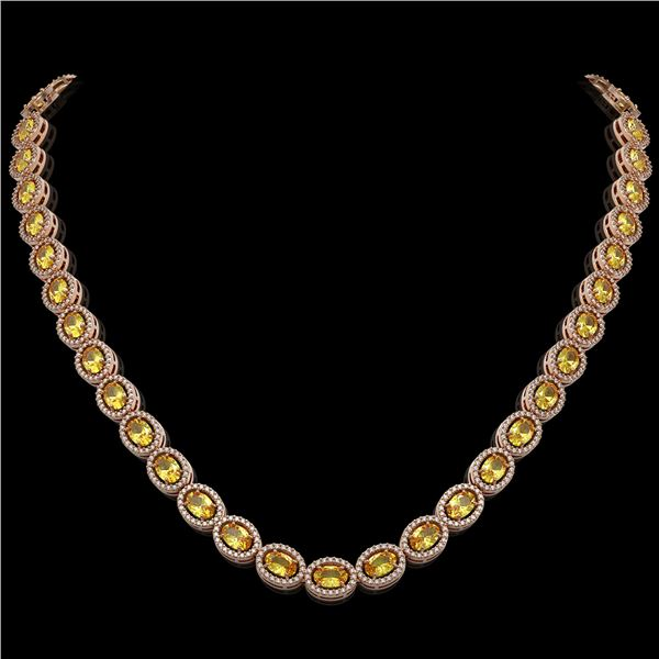 28.52 ctw Fancy Citrine & Diamond Micro Pave Halo Necklace 10k Rose Gold - REF-600A2N
