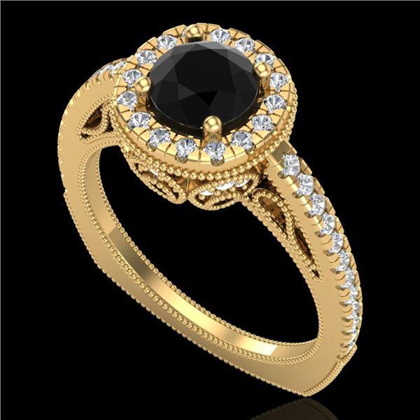 1.55 ctw Fancy Black Diamond Engagment Art Deco Ring 18k Yellow Gold - REF-112H8R