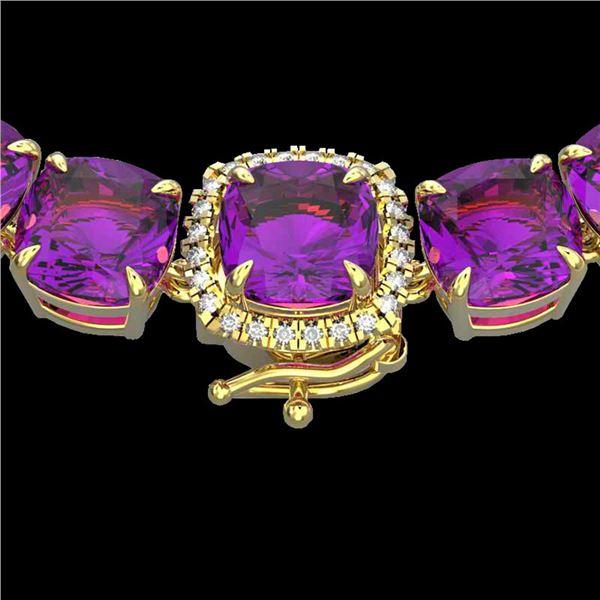 116 ctw Amethyst & VS/SI Diamond Halo Micro Necklace 14k Yellow Gold - REF-350M2G