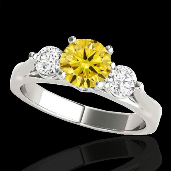 1.50 ctw SI/I Fancy Intense Yellow Diamond 3 Stone Ring 10k White Gold - REF-225Y2X