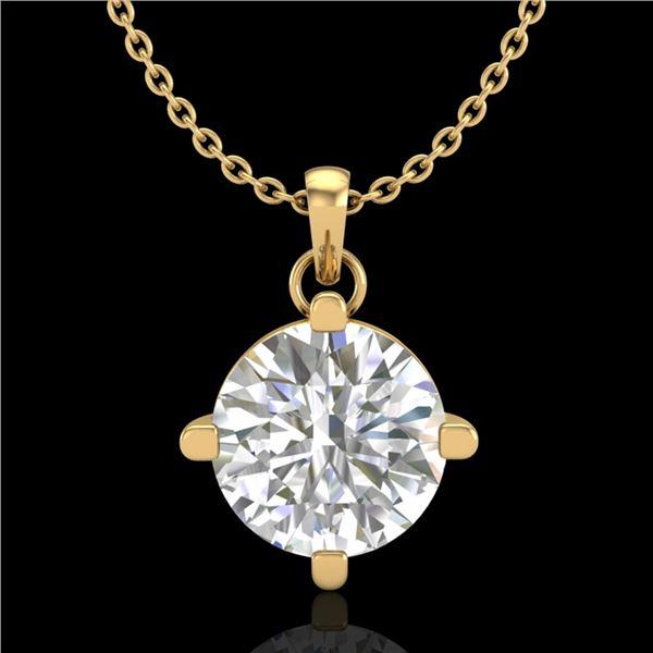 1 ctw VS/SI Diamond Solitaire Art Deco Stud Necklace 18k Yellow Gold - REF-345W5H