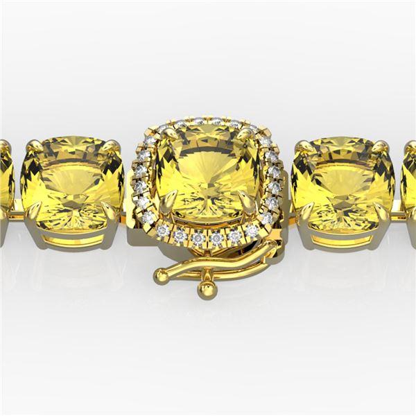 35 ctw Citrine & Micro Pave Diamond Bracelet 14k Yellow Gold - REF-134R2K