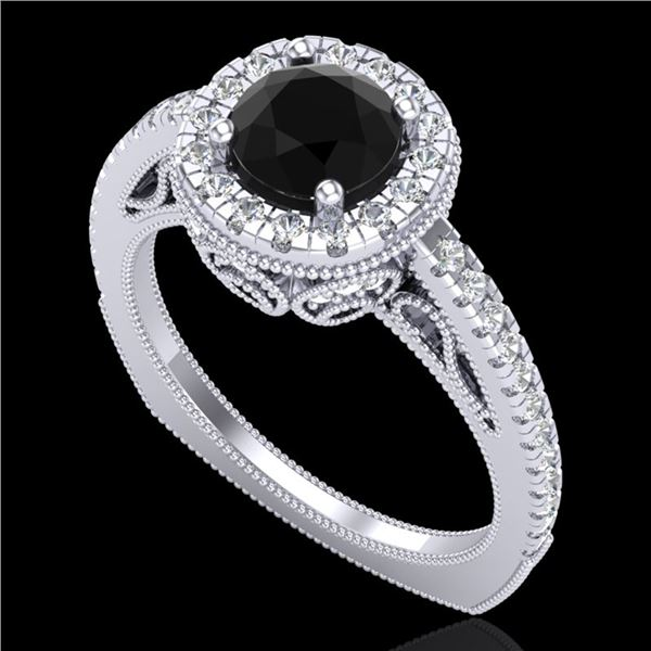 1.55 ctw Fancy Black Diamond Engagment Art Deco Ring 18k White Gold - REF-112F8M