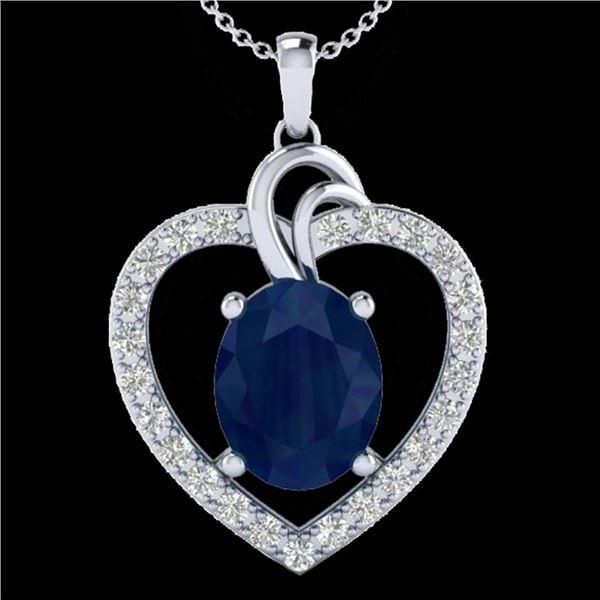 4 ctw Sapphire & VS/SI Diamond Designer Heart Necklace 14k White Gold - REF-74Y9X