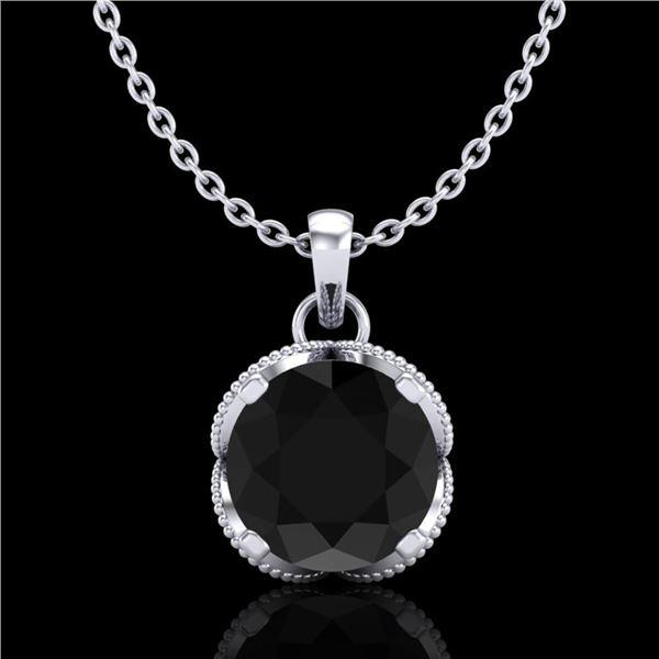 1.13 ctw Fancy Black Diamond Art Deco Stud Necklace 18k White Gold - REF-94M5G