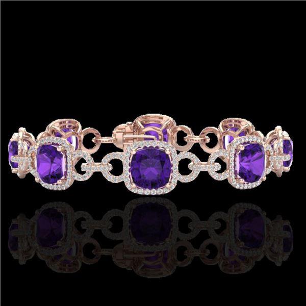 30 ctw Amethyst & Micro VS/SI Diamond Bracelet 14k Rose Gold - REF-368H9R