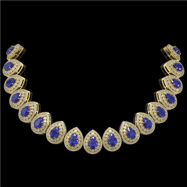 121.42 ctw Sapphire & Diamond Victorian Necklace 14K Yellow Gold - REF-3331Y5X
