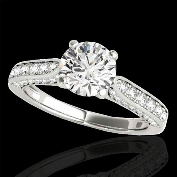 1.6 ctw Certified Diamond Solitaire Ring 10k White Gold - REF-197G8W