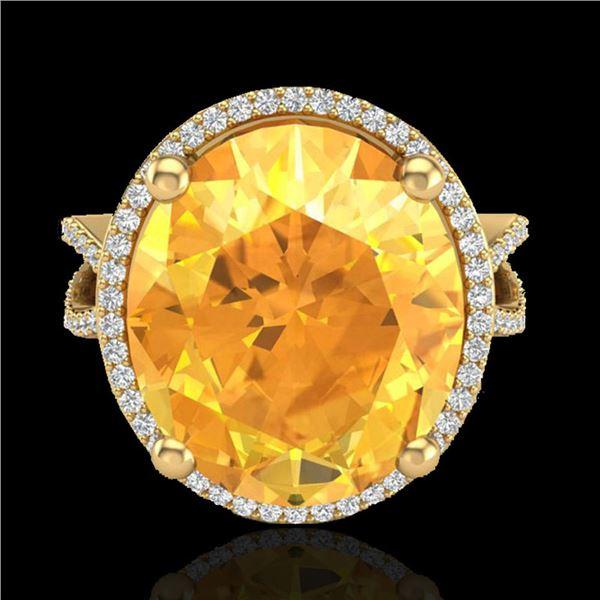 10 ctw Citrine & Micro Pave VS/SI Diamond Ring 18k Yellow Gold - REF-80F2M
