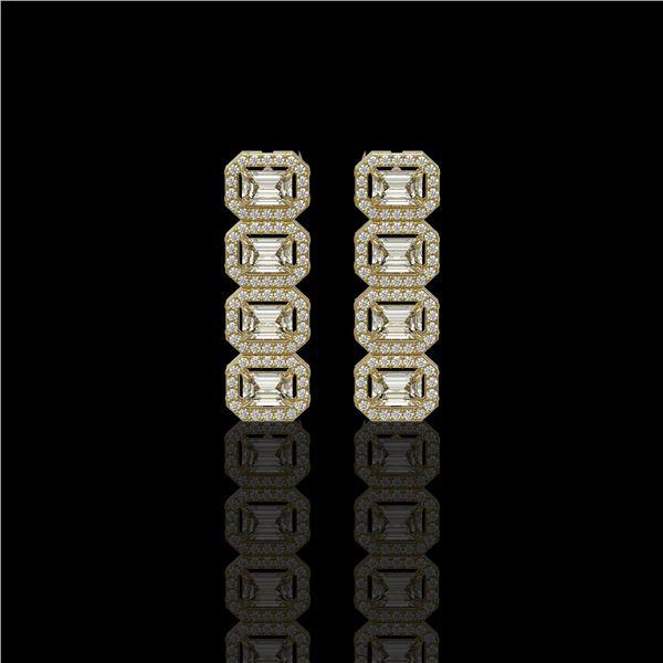 3.84 ctw Emerald Cut Diamond Micro Pave Earrings 18K Yellow Gold - REF-459K8Y