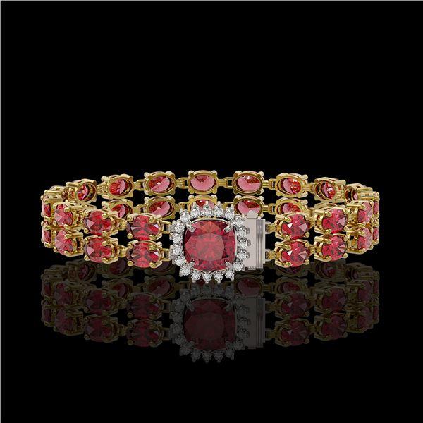 17.35 ctw Tourmaline & Diamond Bracelet 14K Yellow Gold - REF-245G5W