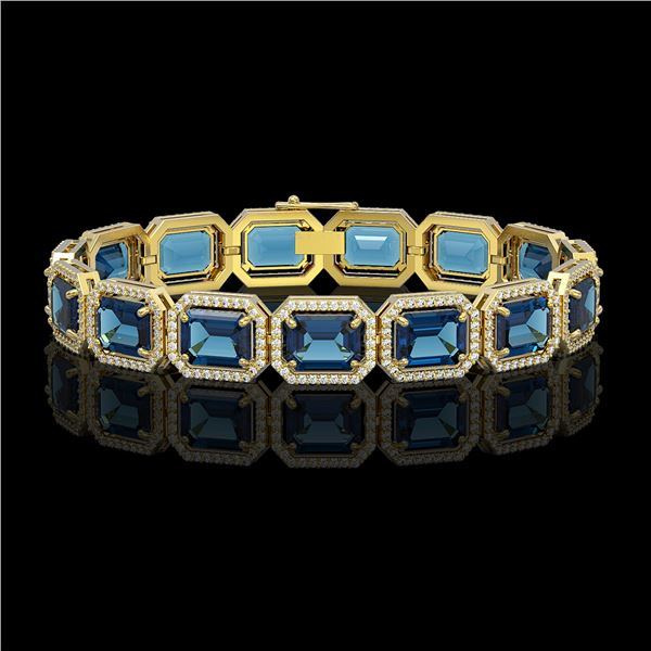 35.61 ctw London Topaz & Diamond Micro Pave Halo Bracelet 10k Yellow Gold - REF-337R3K