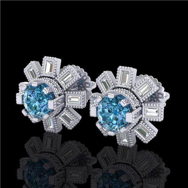 1.77 ctw Fancy Intense Blue Diamond Art Deco Earrings 18k White Gold - REF-177N3F