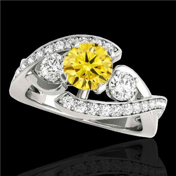 2.26 ctw Certified SI Intense Yellow Diamond Bypass Ring 10k White Gold - REF-340R9K