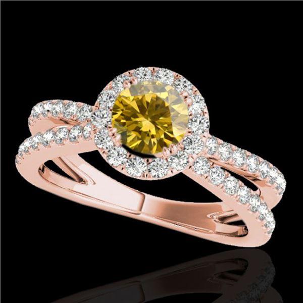2 ctw Certified SI/I Fancy Intense Yellow Diamond Halo Ring 10k Rose Gold - REF-252W3H