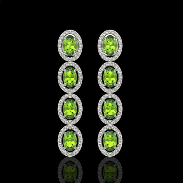 5.88 ctw Peridot & Diamond Micro Pave Halo Earrings 10k White Gold - REF-143A6N
