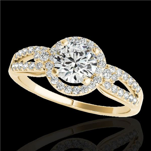 1.25 ctw Certified Diamond Solitaire Halo Ring 10k Yellow Gold - REF-190A9N
