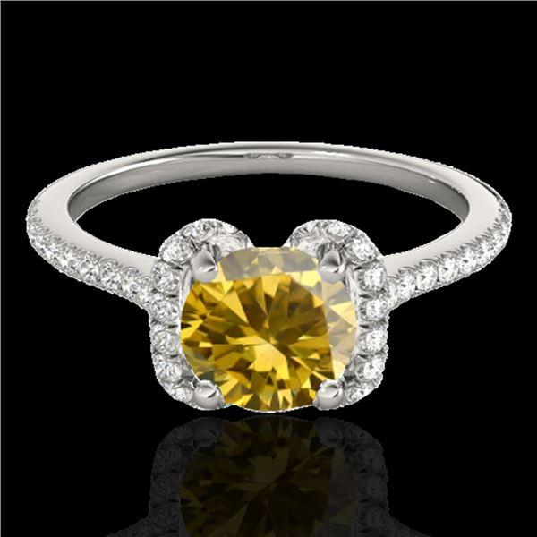 1.33 ctw Certified SI/I Fancy Intense Yellow Diamond Ring 10k White Gold - REF-190F9M