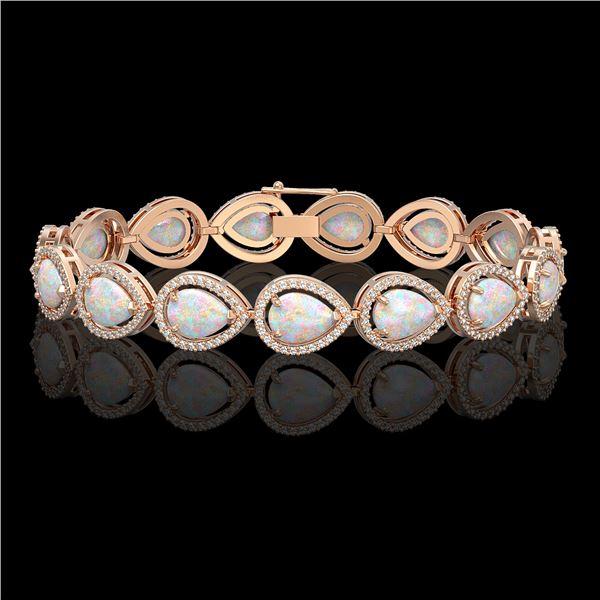 17.15 ctw Opal & Diamond Micro Pave Halo Bracelet 10k Rose Gold - REF-321Y6X