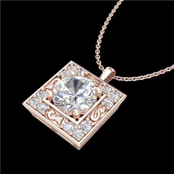 1.02 ctw VS/SI Diamond Solitaire Art Deco Necklace 18k Rose Gold - REF-200R2K