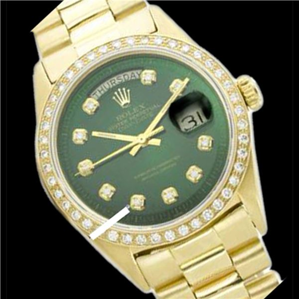 Rolex Men's 18K Yellow President, QuickSet, Diamond Dial & Diamond Bezel