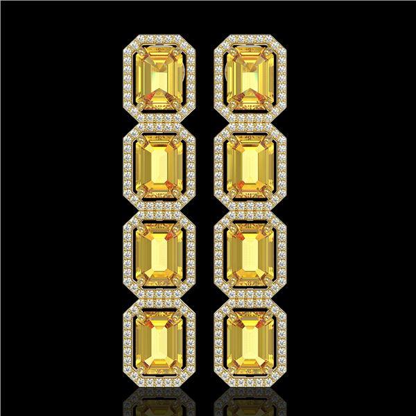 18.64 ctw Fancy Citrine & Diamond Micro Pave Halo Earrings 10k Yellow Gold - REF-184W2H