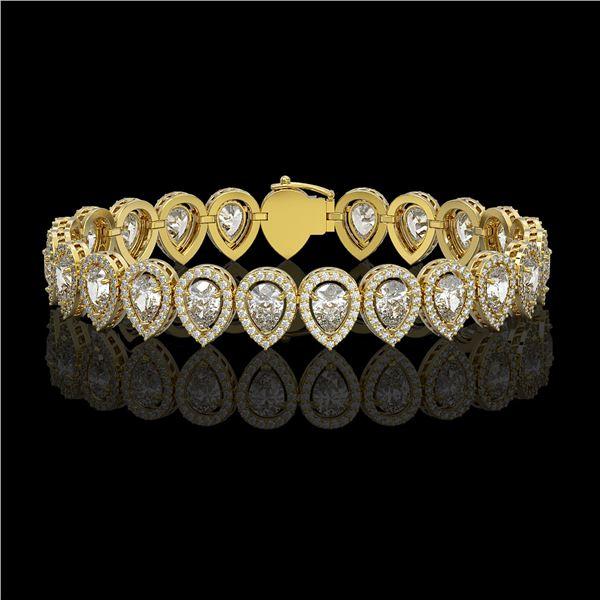 15.85 ctw Pear Cut Diamond Micro Pave Bracelet 18K Yellow Gold - REF-2168F2M