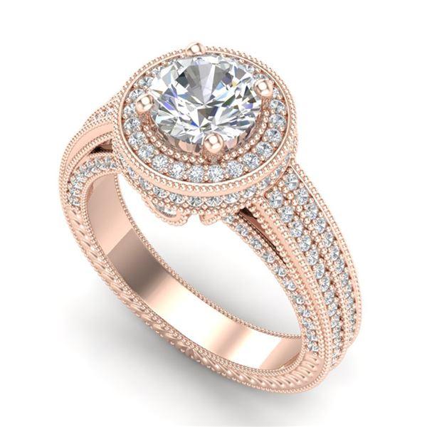 2.8 ctw VS/SI Diamond Solitaire Art Deco Ring 18k Rose Gold - REF-527K3Y