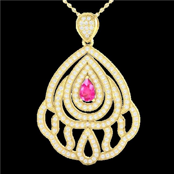 2 ctw Pink Sapphire & Micro Pave VS/SI Diamond Necklace 18k Yellow Gold - REF-180M2G