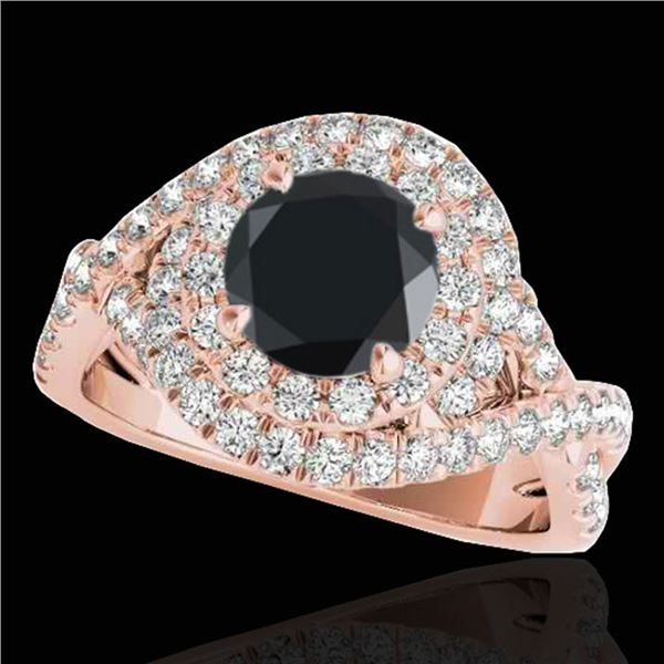 2 ctw Certified VS Black Diamond Solitaire Halo Ring 10k Rose Gold - REF-74R2K