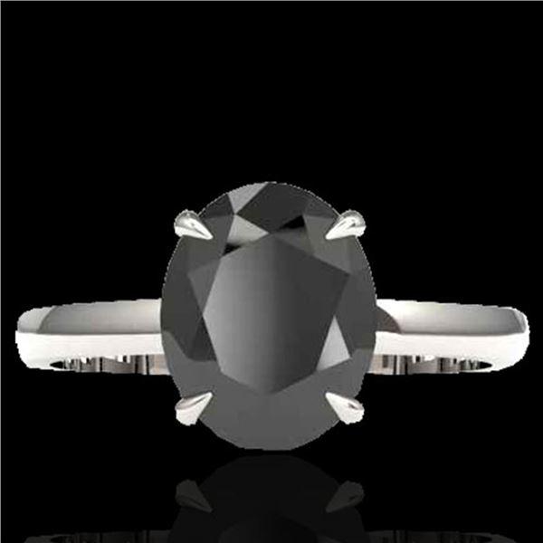 5 ctw Black Diamond Designer Ring 18k White Gold - REF-161H8R