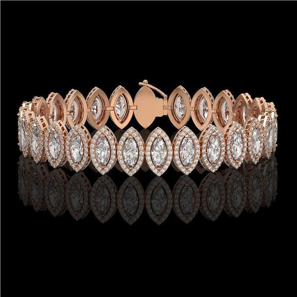 17.55 ctw Marquise Cut Diamond Micro Pave Bracelet 18K Rose Gold - REF-2397W3H